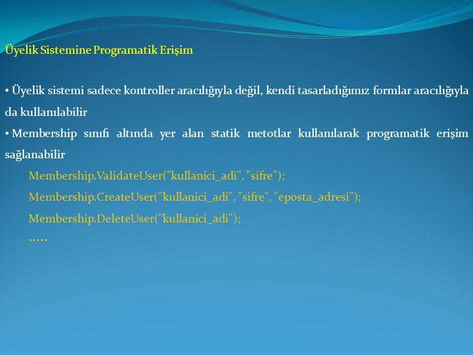 Üyelik Sistemine Programatik Erişim • Üyelik sistemi sadece kontroller aracılığıyla değil, kendi tasarladığımız formlar aracılığıyla da kullanılabilir