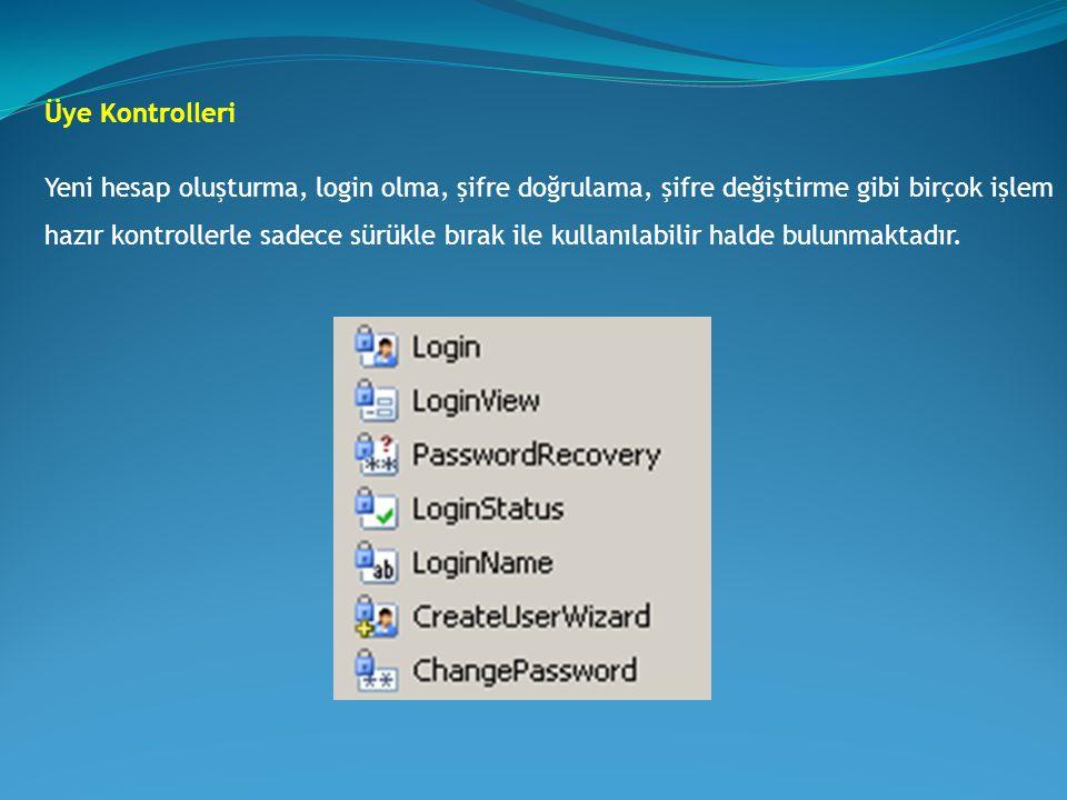 Üye Kontrolleri Yeni hesap oluşturma, login olma, şifre doğrulama, şifre değiştirme gibi birçok işlem hazır kontrollerle sadece sürükle bırak ile kull