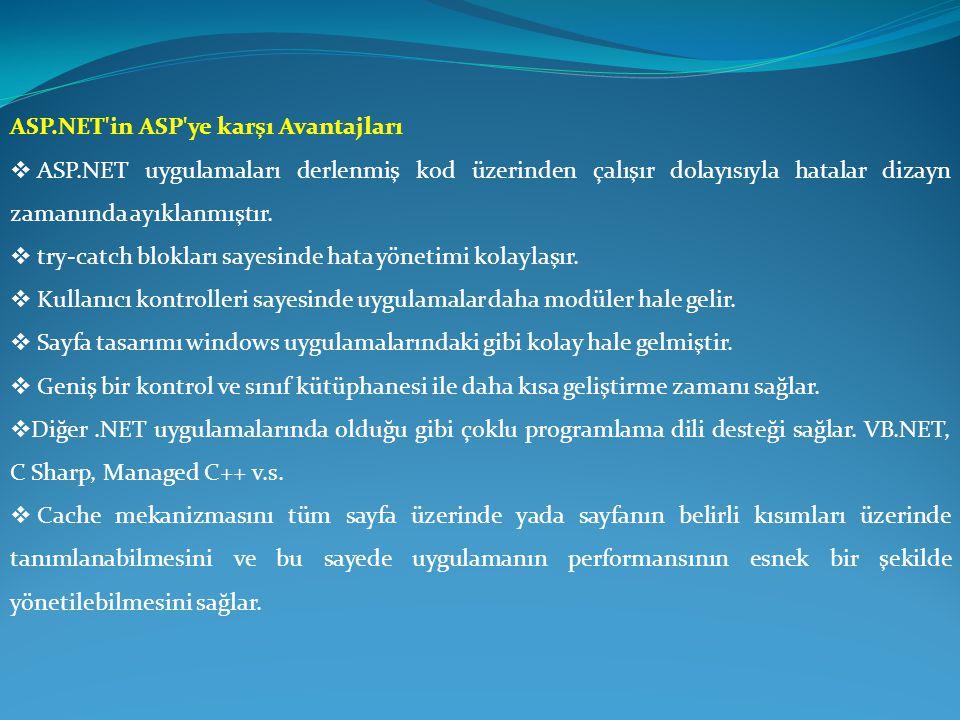 ASP.NET'in ASP'ye karşı Avantajları  ASP.NET uygulamaları derlenmiş kod üzerinden çalışır dolayısıyla hatalar dizayn zamanında ayıklanmıştır.  try-c