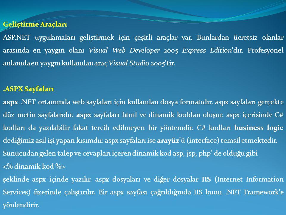 Geliştirme Araçları ASP.NET uygulamaları geliştirmek için çeşitli araçlar var. Bunlardan ücretsiz olanlar arasında en yaygın olanı Visual Web Develope