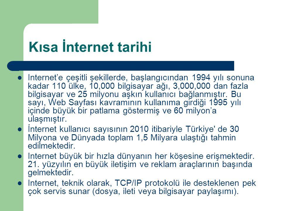 Kısa İnternet tarihi  Internet'e çeşitli şekillerde, başlangıcından 1994 yılı sonuna kadar 110 ülke, 10,000 bilgisayar ağı, 3,000,000 dan fazla bilgisayar ve 25 milyonu aşkın kullanıcı bağlanmıştır.