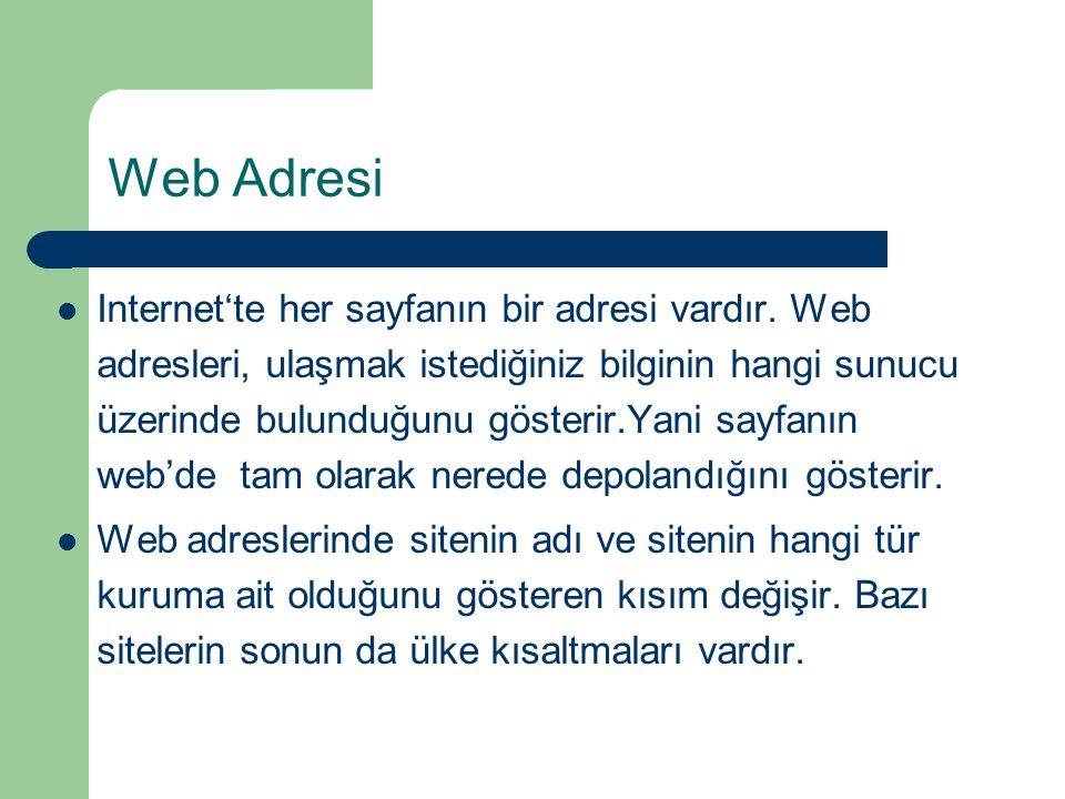 Web Adresi  Internet'te her sayfanın bir adresi vardır.