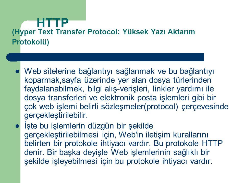 HTTP (Hyper Text Transfer Protocol: Yüksek Yazı Aktarım Protokolü)  Web sitelerine bağlantıyı sağlanmak ve bu bağlantıyı koparmak,sayfa üzerinde yer alan dosya türlerinden faydalanabilmek, bilgi alış-verişleri, linkler yardımı ile dosya transferleri ve elektronik posta işlemleri gibi bir çok web işlemi belirli sözleşmeler(protocol) çerçevesinde gerçekleştirilebilir.