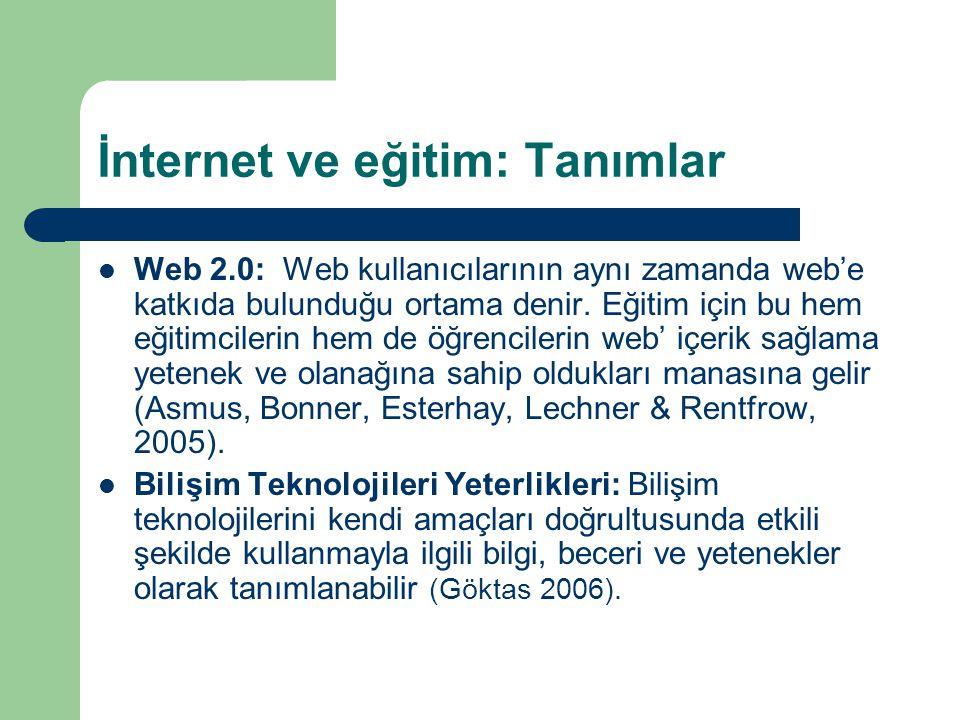 İnternet ve eğitim: Tanımlar  Web 2.0: Web kullanıcılarının aynı zamanda web'e katkıda bulunduğu ortama denir.