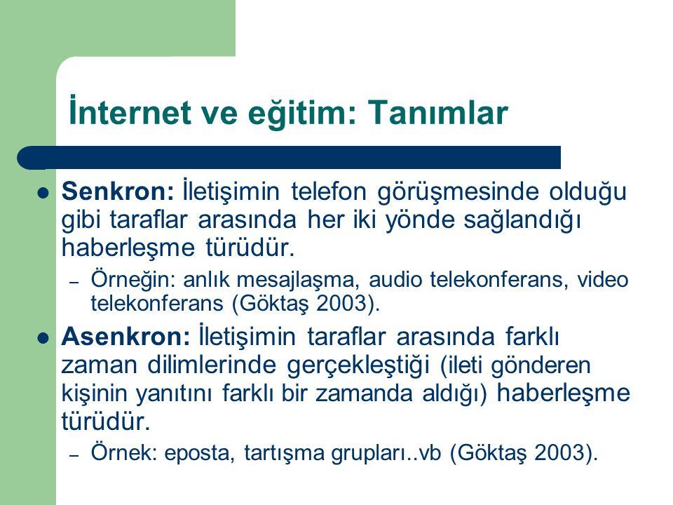 İnternet ve eğitim: Tanımlar  Senkron: İletişimin telefon görüşmesinde olduğu gibi taraflar arasında her iki yönde sağlandığı haberleşme türüdür.