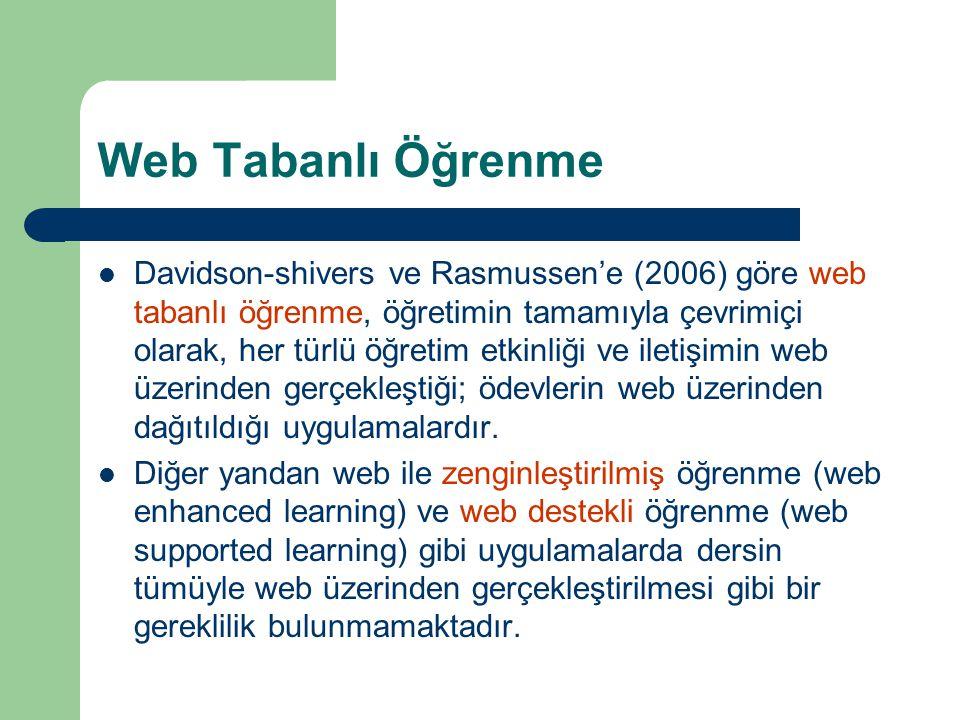 Web Tabanlı Öğrenme  Davidson-shivers ve Rasmussen'e (2006) göre web tabanlı öğrenme, öğretimin tamamıyla çevrimiçi olarak, her türlü öğretim etkinliği ve iletişimin web üzerinden gerçekleştiği; ödevlerin web üzerinden dağıtıldığı uygulamalardır.