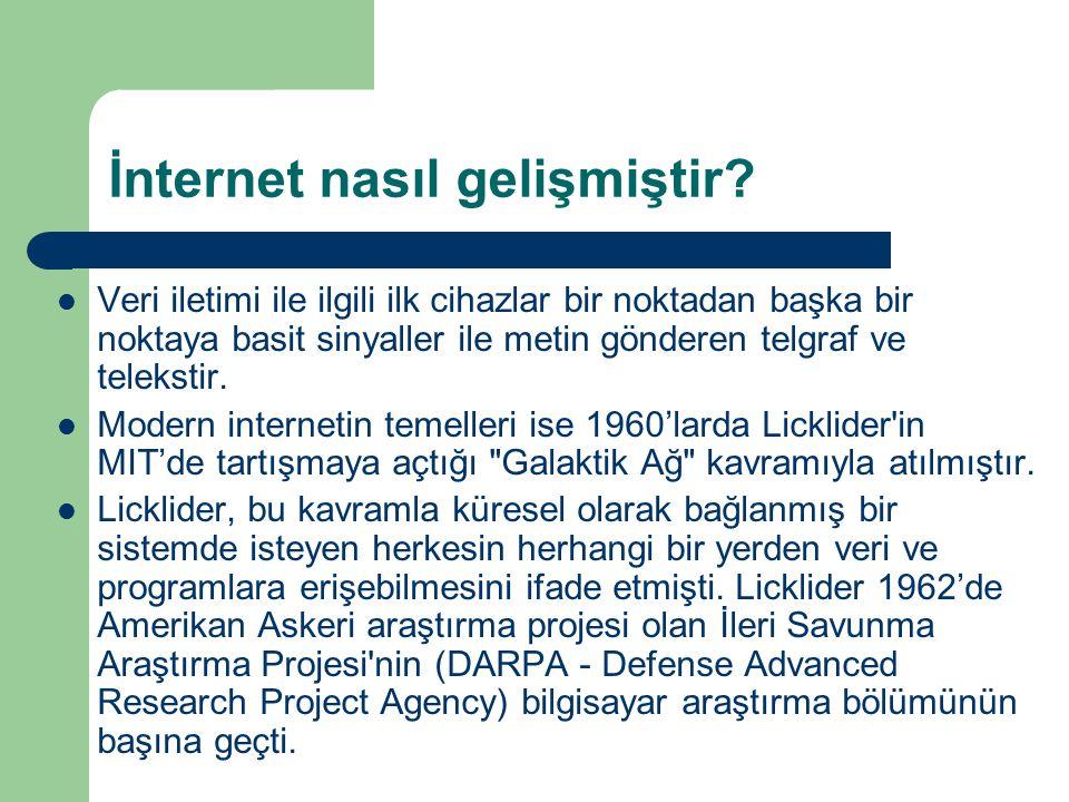 İnternet nasıl gelişmiştir.