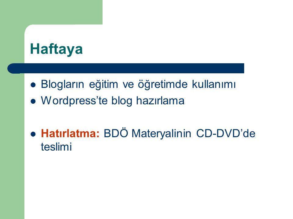 Haftaya  Blogların eğitim ve öğretimde kullanımı  Wordpress'te blog hazırlama  Hatırlatma: BDÖ Materyalinin CD-DVD'de teslimi