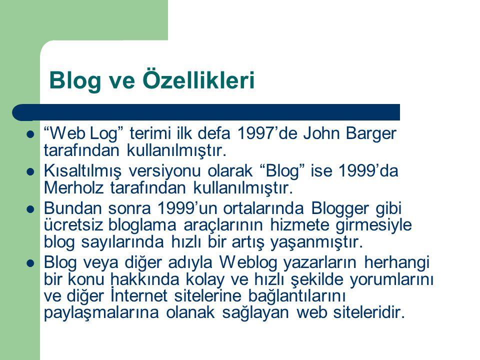 Blog ve Özellikleri  Web Log terimi ilk defa 1997'de John Barger tarafından kullanılmıştır.
