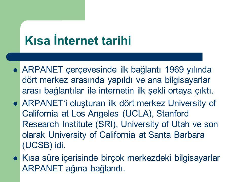 Kısa İnternet tarihi  1971 yılında Ağ Kontrol protokolü (NCP-Network Control Protokol) ismi verilen bir protokol devreye girdi.