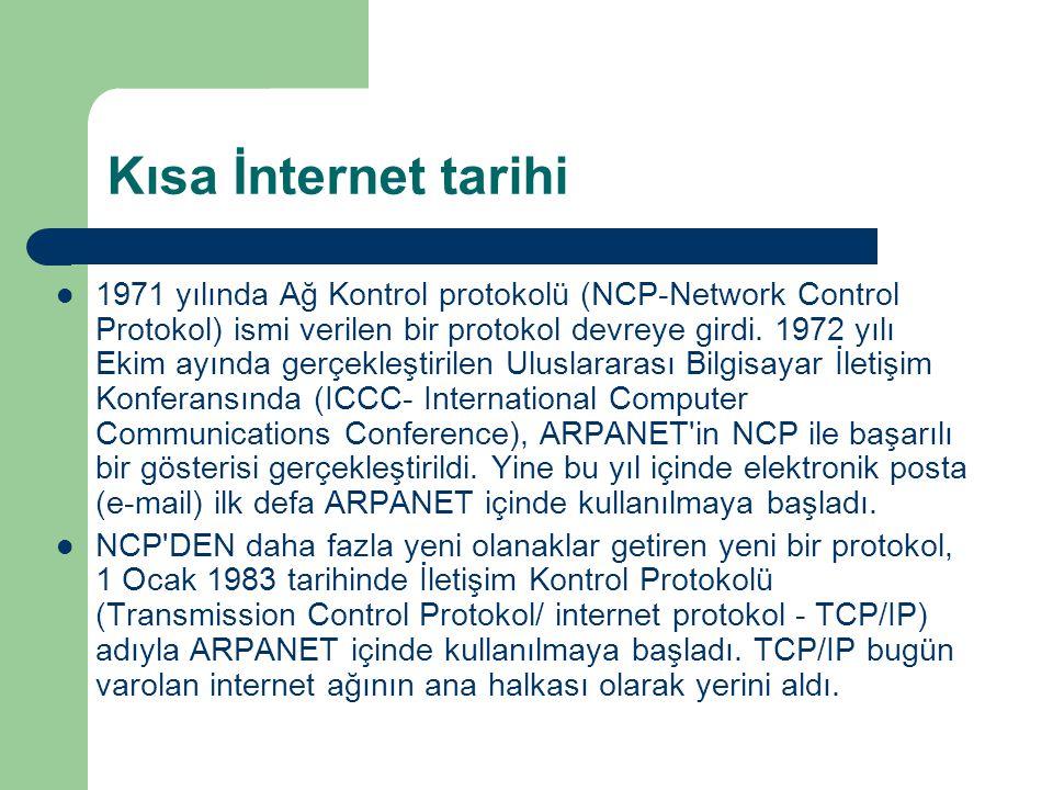 Kısa İnternet tarihi  1980 yılların ortasında Savunma Bakanlığı na bağlı Amerikan askeri bilgisayar ağı, ARPANET ten ayrıldı ve MILITARY NET adı ile kendi ağını kurdu.