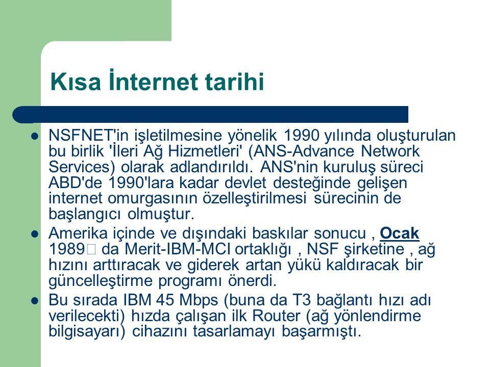 Kısa İnternet tarihi  NSFNET in işletilmesine yönelik 1990 yılında oluşturulan bu birlik İleri Ağ Hizmetleri (ANS-Advance Network Services) olarak adlandırıldı.
