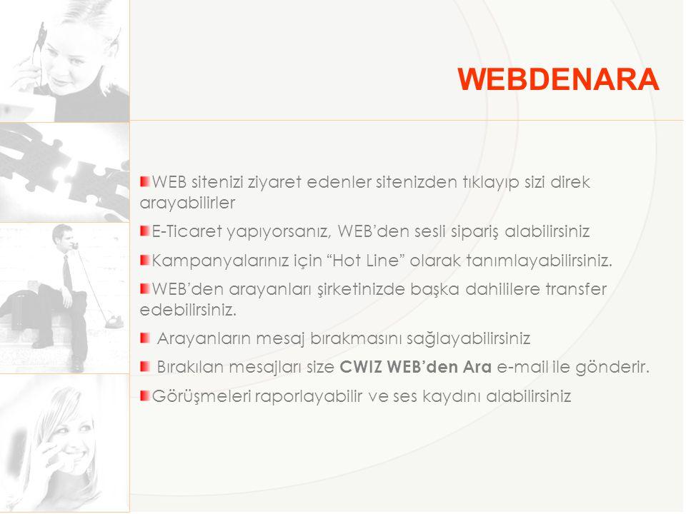 WEBDENARA WEB sitenizi ziyaret edenler sitenizden tıklayıp sizi direk arayabilirler E-Ticaret yapıyorsanız, WEB'den sesli sipariş alabilirsiniz Kampan