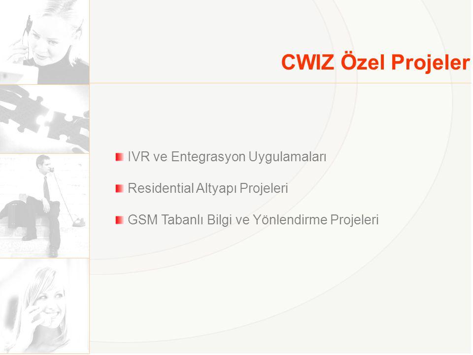 CWIZ Özel Projeler IVR ve Entegrasyon Uygulamaları Residential Altyapı Projeleri GSM Tabanlı Bilgi ve Yönlendirme Projeleri