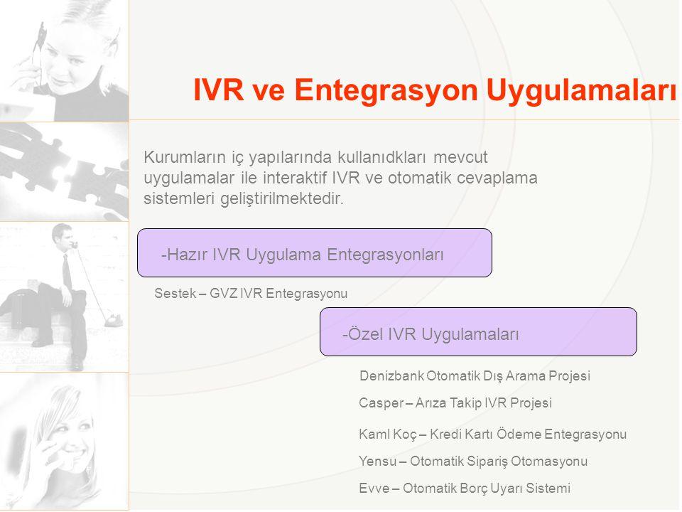IVR ve Entegrasyon Uygulamaları -Hazır IVR Uygulama Entegrasyonları Sestek – GVZ IVR Entegrasyonu -Özel IVR Uygulamaları Casper – Arıza Takip IVR Proj