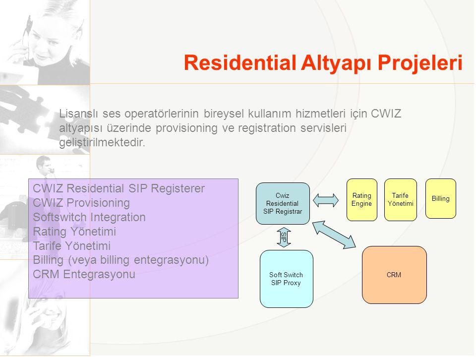 Residential Altyapı Projeleri Lisanslı ses operatörlerinin bireysel kullanım hizmetleri için CWIZ altyapısı üzerinde provisioning ve registration serv