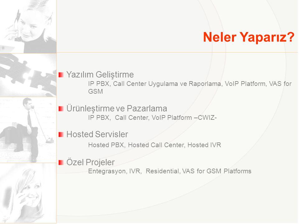 Neler Yaparız? Yazılım Geliştirme IP PBX, Call Center Uygulama ve Raporlama, VoIP Platform, VAS for GSM Ürünleştirme ve Pazarlama IP PBX, Call Center,