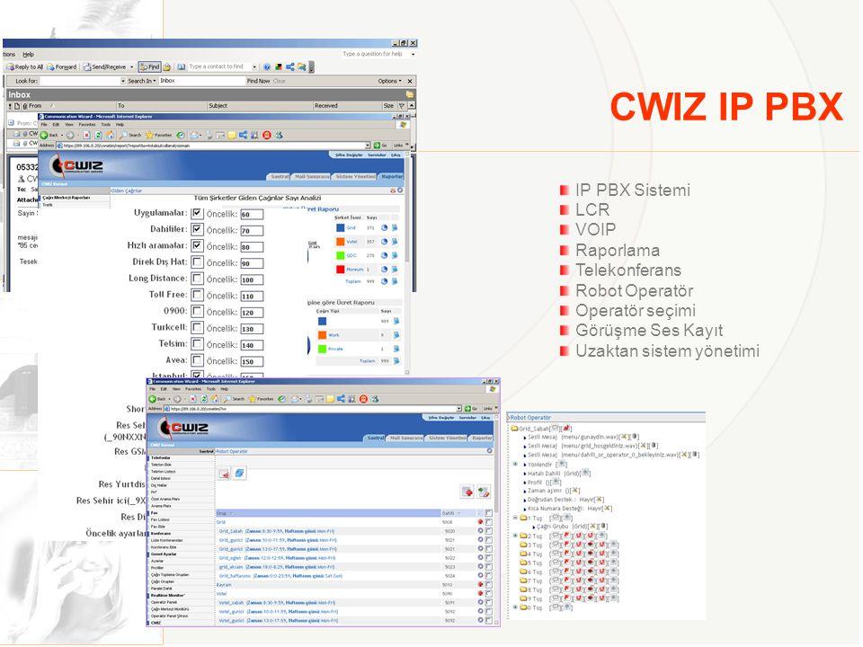 CWIZ IP Call Center IP Call Center Uygulaması Robot operatör Birden fazla kuyruk yönetimi ACD Çoklu agent yönetimi Süre yönetimi Bekleme anonsları Görüşme ses kayıt Servis seviyesi raporları Agent ve kategori raporları Kayıp çağrı raporları Çağrı dağılım ve grafik raporları Sesli posta uygulaması CRM entegrasyon olanağı Uzaktan sistem yönetimi