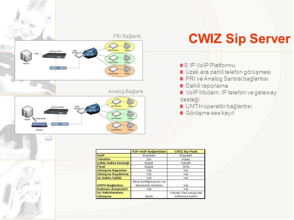 CWIZ Sip Server S IP VoIP Platformu Uzak ara dahili telefon görüşmesi PRI ve Analog Santral bağlantısı Dahili raporlama VoIP Modem, IP telefon ve gate