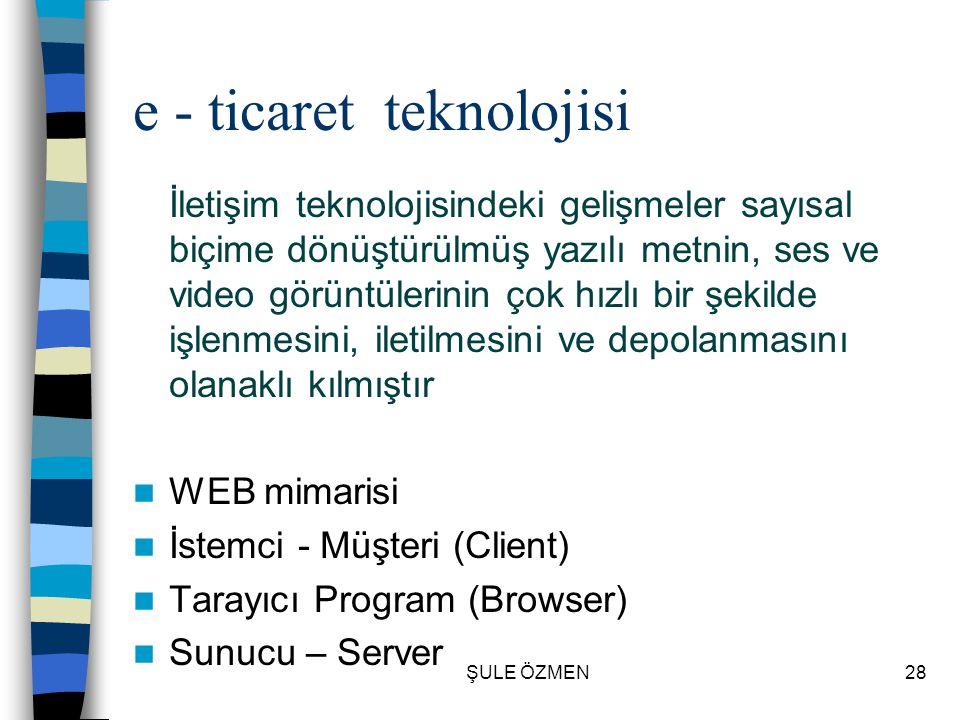 ŞULE ÖZMEN27 Web Siteleri  Statik siteler – Şirketin varlığını gösteren siteler  Dinamik Siteler – Alım Satım işlemi yapılan siteler  Kişiselleştir