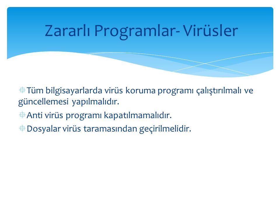  Tüm bilgisayarlarda virüs koruma programı çalıştırılmalı ve güncellemesi yapılmalıdır.  Anti virüs programı kapatılmamalıdır.  Dosyalar virüs tara