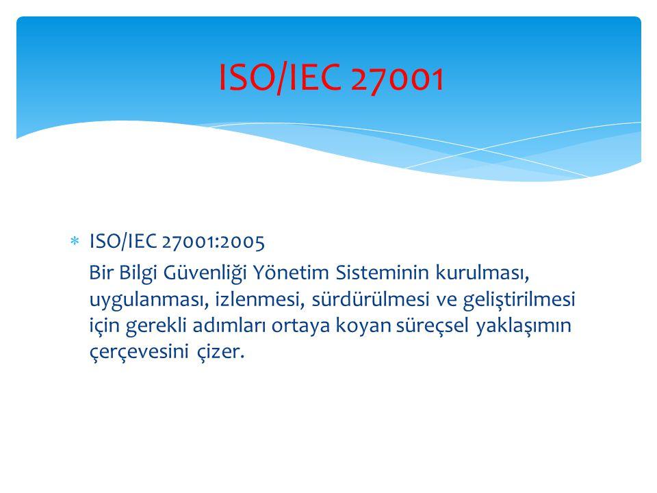  ISO/IEC 27001:2005 Bir Bilgi Güvenliği Yönetim Sisteminin kurulması, uygulanması, izlenmesi, sürdürülmesi ve geliştirilmesi için gerekli adımları or