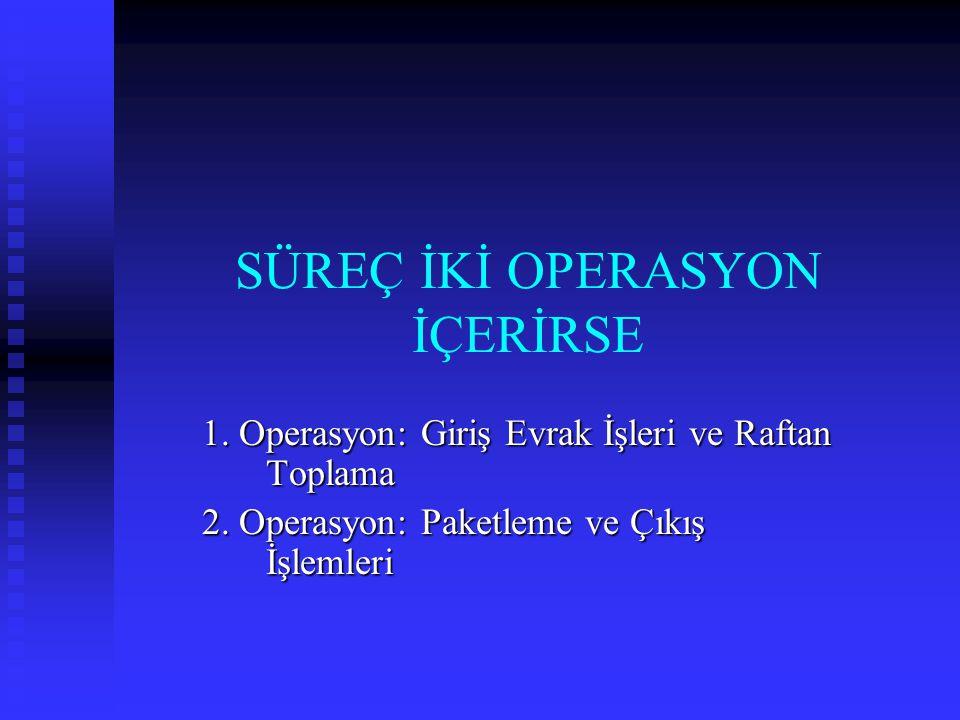 SÜREÇ İKİ OPERASYON İÇERİRSE 1. Operasyon: Giriş Evrak İşleri ve Raftan Toplama 2. Operasyon: Paketleme ve Çıkış İşlemleri