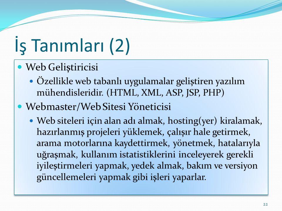 İş Tanımları (2)  Web Geliştiricisi  Özellikle web tabanlı uygulamalar geliştiren yazılım mühendisleridir. (HTML, XML, ASP, JSP, PHP)  Webmaster/We