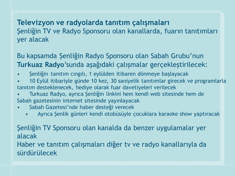 Televizyon ve radyolarda tanıtım çalışmaları Şenliğin TV ve Radyo Sponsoru olan kanallarda, fuarın tanıtımları yer alacak Bu kapsamda Şenliğin Radyo S