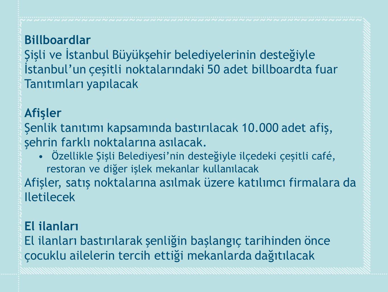 Billboardlar Şişli ve İstanbul Büyükşehir belediyelerinin desteğiyle İstanbul'un çeşitli noktalarındaki 50 adet billboardta fuar Tanıtımları yapılacak