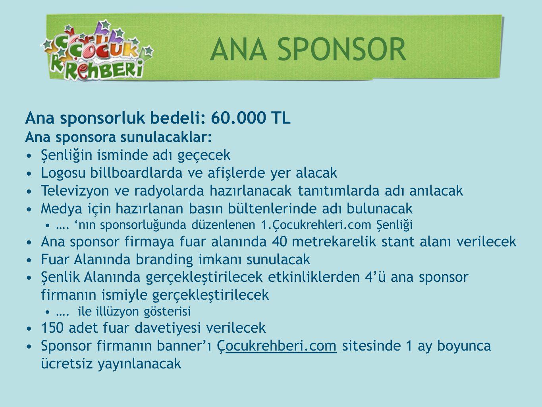 ANA SPONSOR Ana sponsorluk bedeli: 60.000 TL Ana sponsora sunulacaklar: •Şenliğin isminde adı geçecek •Logosu billboardlarda ve afişlerde yer alacak •