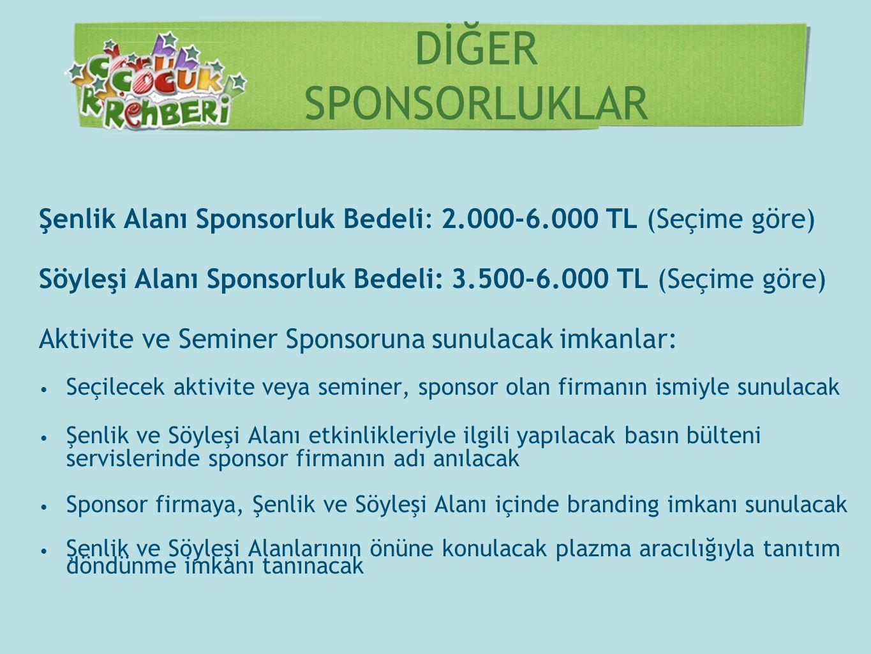DİĞER SPONSORLUKLAR Şenlik Alanı Sponsorluk Bedeli: 2.000-6.000 TL (Seçime göre) Söyleşi Alanı Sponsorluk Bedeli: 3.500-6.000 TL (Seçime göre) Aktivit