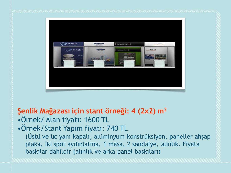 Şenlik Mağazası için stant örneği: 4 (2x2) m 2 •Örnek/ Alan fiyatı: 1600 TL •Örnek/Stant Yapım fiyatı: 740 TL (Üstü ve üç yanı kapalı, alüminyum konst