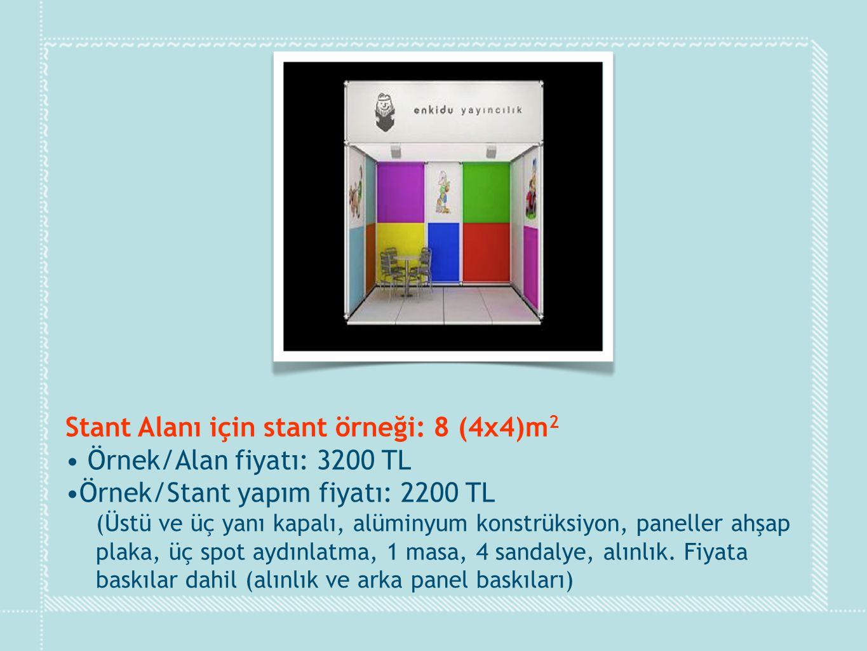 Stant Alanı için stant örneği: 8 (4x4)m 2 • Örnek/Alan fiyatı: 3200 TL •Örnek/Stant yapım fiyatı: 2200 TL (Üstü ve üç yanı kapalı, alüminyum konstrüks