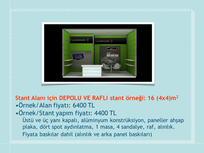 Stant Alanı için DEPOLU VE RAFLI stant örneği: 16 (4x4)m 2 •Örnek/Alan fiyatı: 6400 TL •Örnek/Stant yapım fiyatı: 4400 TL Üstü ve üç yanı kapalı, alüm