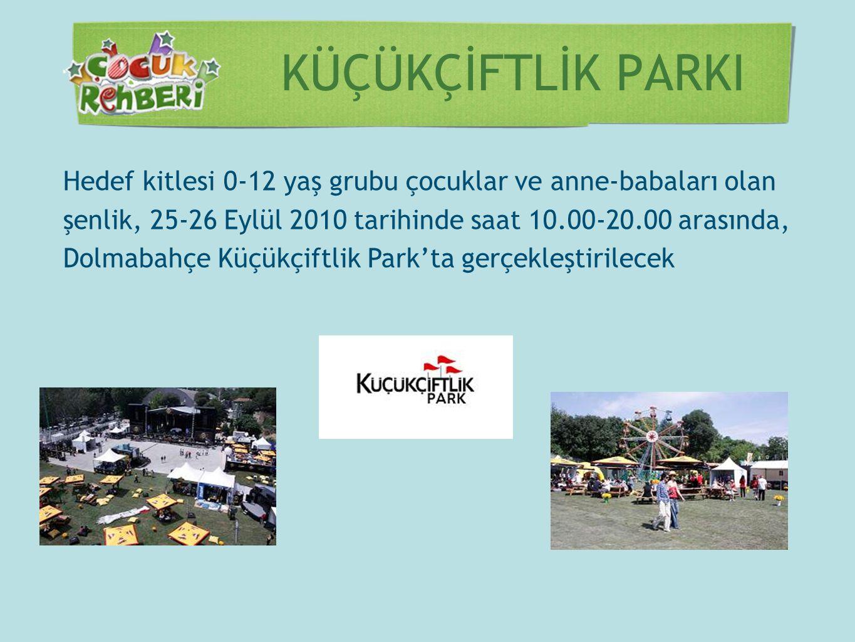 KÜÇÜKÇİFTLİK PARKI Hedef kitlesi 0-12 yaş grubu çocuklar ve anne-babaları olan şenlik, 25-26 Eylül 2010 tarihinde saat 10.00-20.00 arasında, Dolmabahç