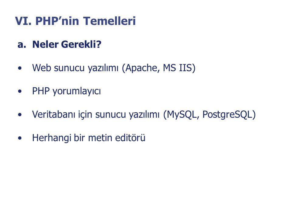VI. PHP'nin Temelleri a.Neler Gerekli? •Web sunucu yazılımı (Apache, MS IIS) •PHP yorumlayıcı •Veritabanı için sunucu yazılımı (MySQL, PostgreSQL) •He