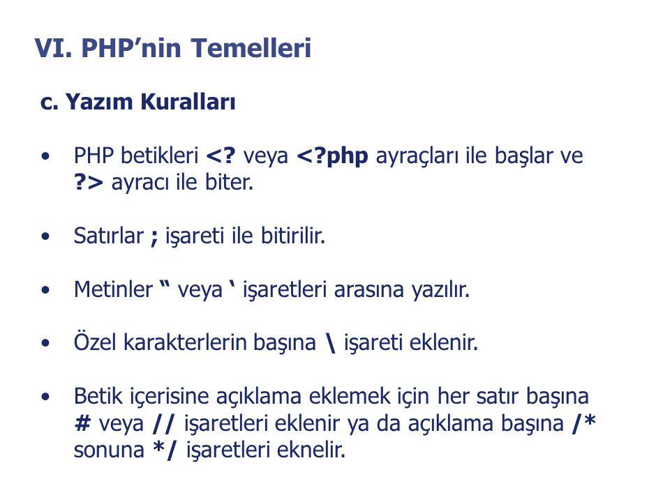 """VI. PHP'nin Temelleri c. Yazım Kuralları •PHP betikleri ayracı ile biter. •Satırlar ; işareti ile bitirilir. •Metinler """" veya ' işaretleri arasına yaz"""