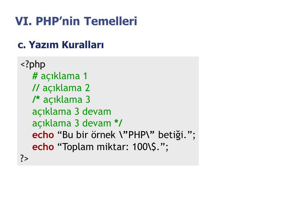 """VI. PHP'nin Temelleri c. Yazım Kuralları <?php # açıklama 1 // açıklama 2 /* açıklama 3 açıklama 3 devam açıklama 3 devam */ echo """"Bu bir örnek \""""PHP\"""
