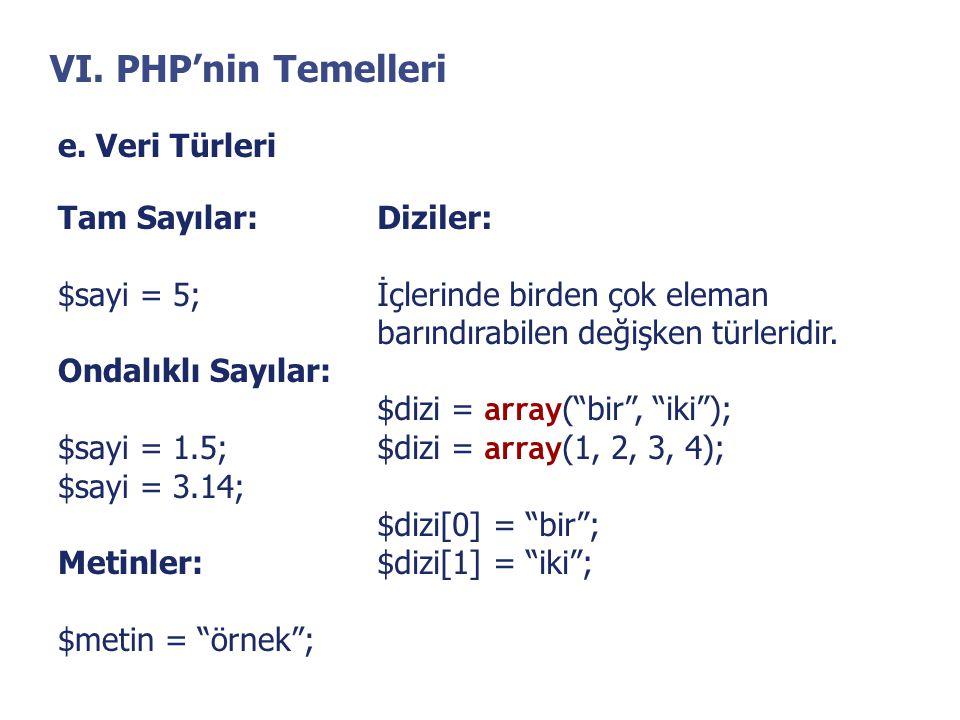 """VI. PHP'nin Temelleri e. Veri Türleri Tam Sayılar: $sayi = 5; Ondalıklı Sayılar: $sayi = 1.5; $sayi = 3.14; Metinler: $metin = """"örnek""""; Diziler: İçler"""