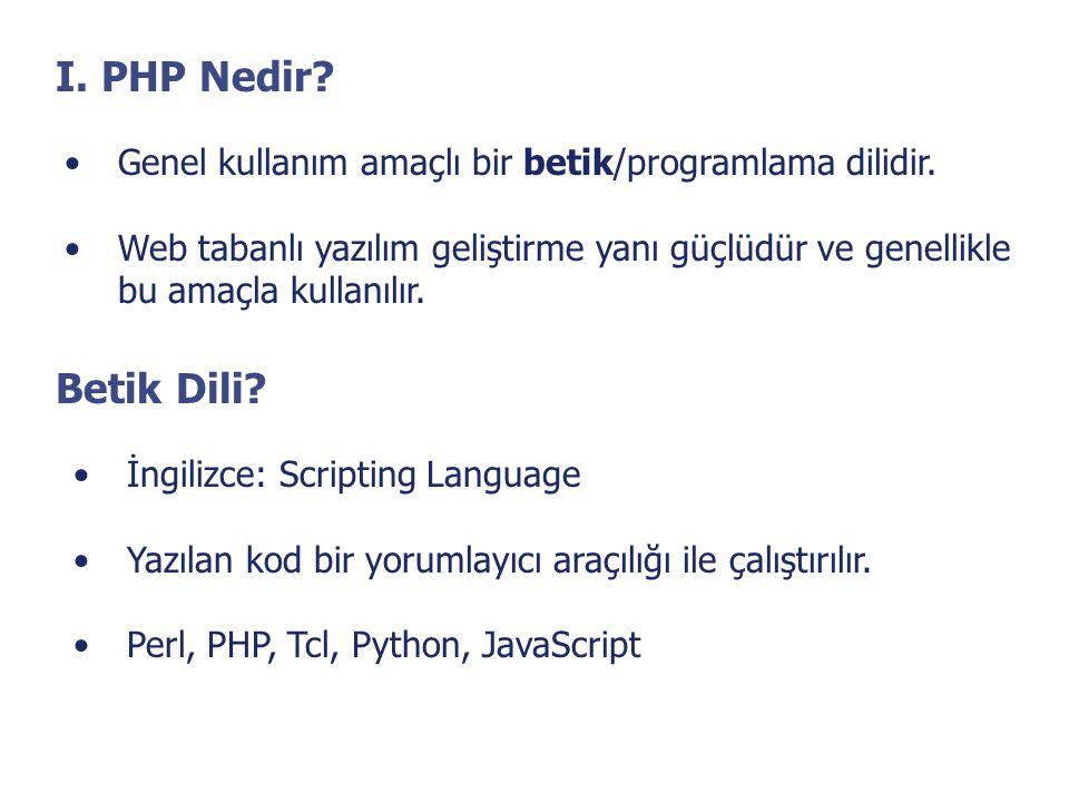 I. PHP Nedir? •Genel kullanım amaçlı bir betik/programlama dilidir. •Web tabanlı yazılım geliştirme yanı güçlüdür ve genellikle bu amaçla kullanılır.