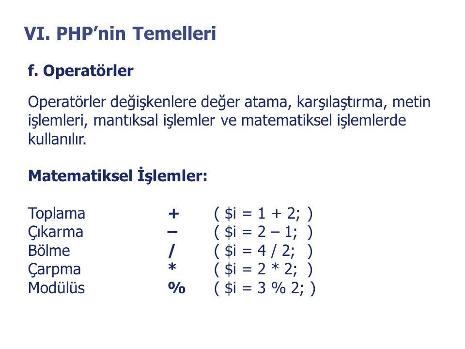VI. PHP'nin Temelleri f. Operatörler Operatörler değişkenlere değer atama, karşılaştırma, metin işlemleri, mantıksal işlemler ve matematiksel işlemler