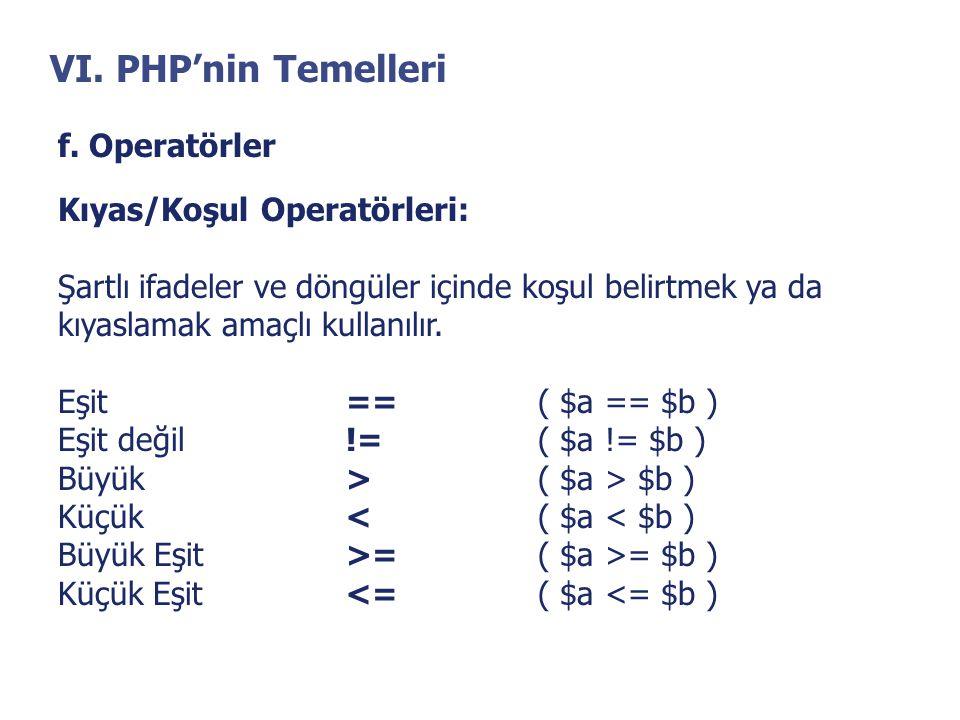 VI. PHP'nin Temelleri f. Operatörler Kıyas/Koşul Operatörleri: Şartlı ifadeler ve döngüler içinde koşul belirtmek ya da kıyaslamak amaçlı kullanılır.