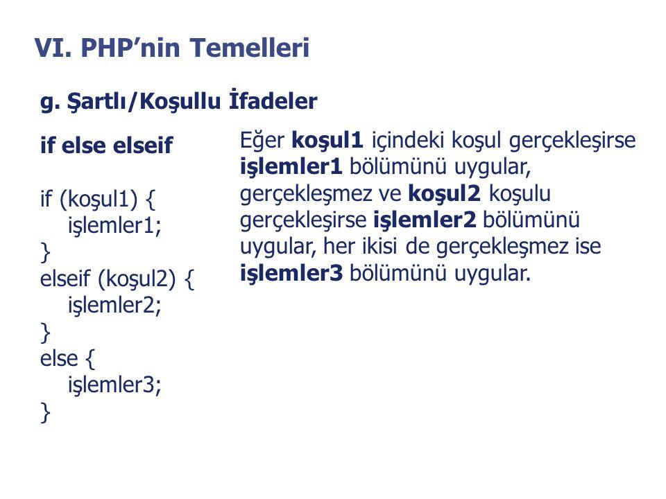 VI. PHP'nin Temelleri g. Şartlı/Koşullu İfadeler if else elseif if (koşul1) { işlemler1; } elseif (koşul2) { işlemler2; } else { işlemler3; } Eğer koş