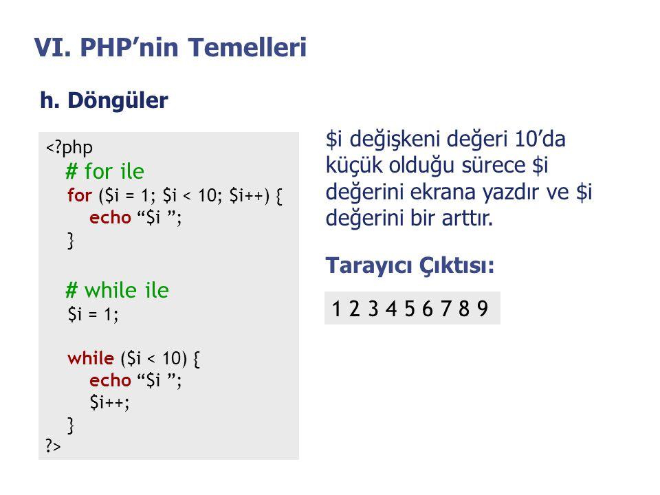 """VI. PHP'nin Temelleri h. Döngüler <?php # for ile for ($i = 1; $i < 10; $i++) { echo """"$i """"; } # while ile $i = 1; while ($i < 10) { echo """"$i """"; $i++;"""