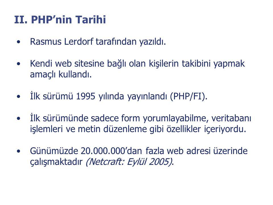 II. PHP'nin Tarihi •Rasmus Lerdorf tarafından yazıldı. •Kendi web sitesine bağlı olan kişilerin takibini yapmak amaçlı kullandı. •İlk sürümü 1995 yılı