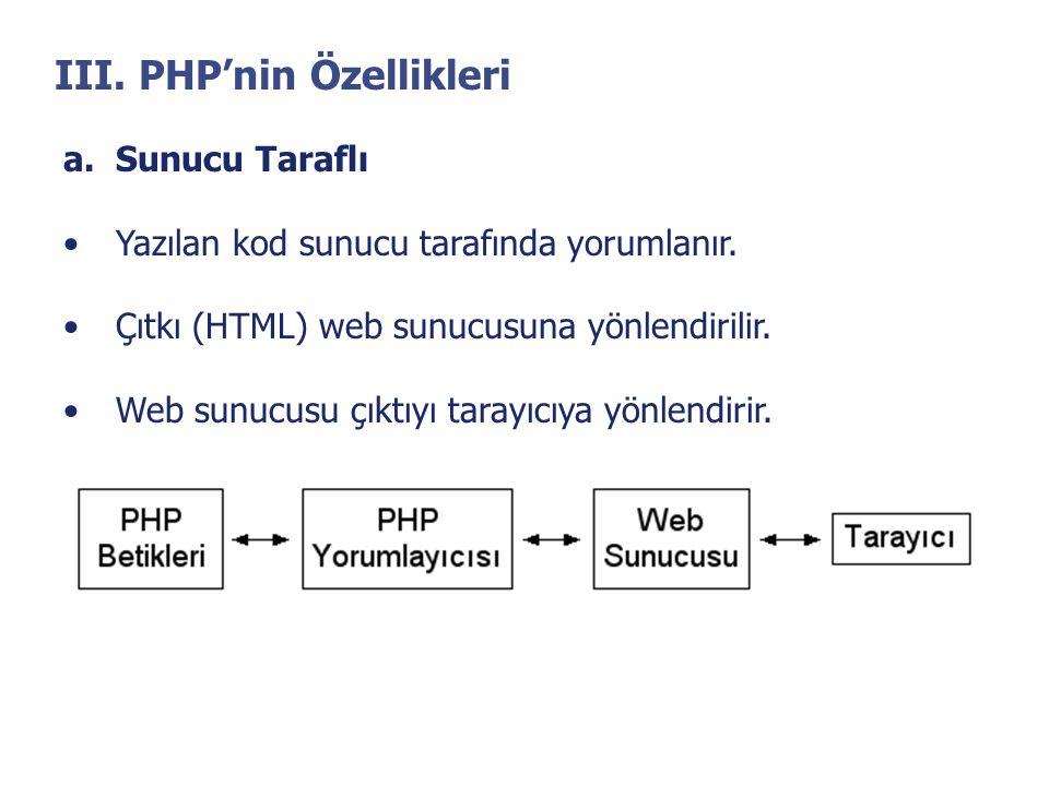 III. PHP'nin Özellikleri a.Sunucu Taraflı •Yazılan kod sunucu tarafında yorumlanır. •Çıtkı (HTML) web sunucusuna yönlendirilir. •Web sunucusu çıktıyı