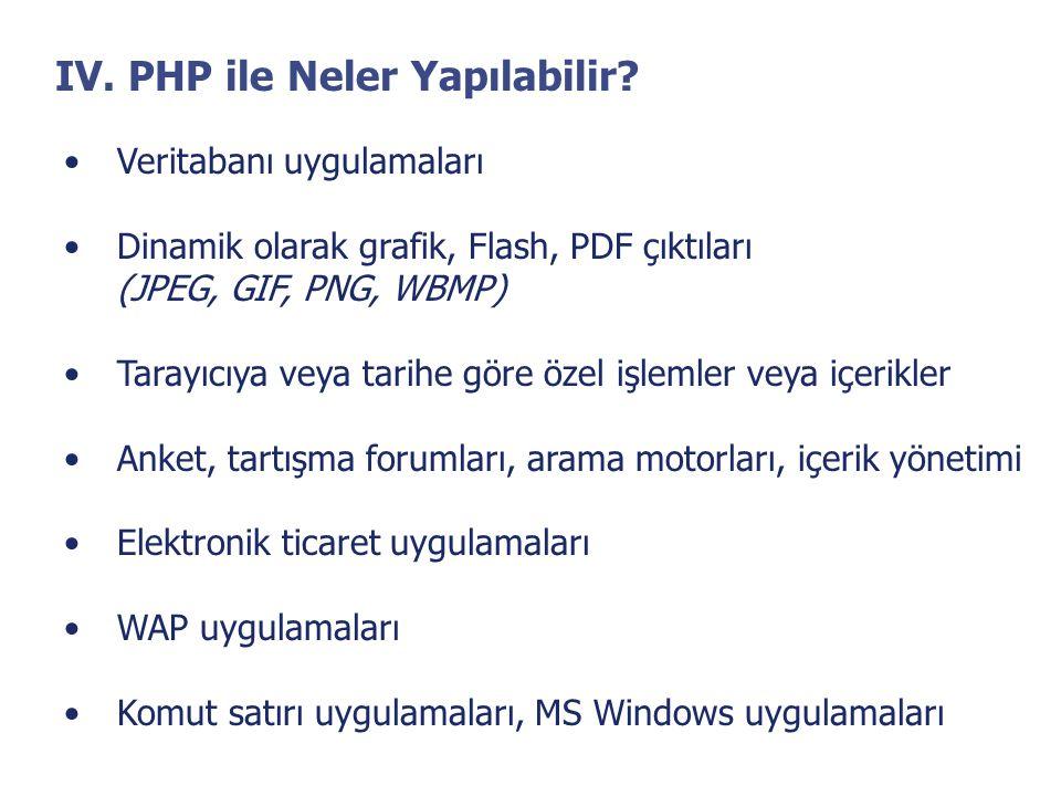 IV. PHP ile Neler Yapılabilir? •Veritabanı uygulamaları •Dinamik olarak grafik, Flash, PDF çıktıları (JPEG, GIF, PNG, WBMP) •Tarayıcıya veya tarihe gö