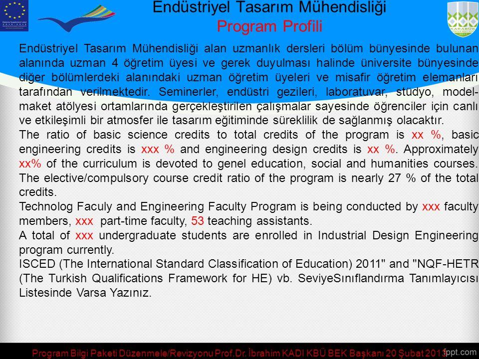Endüstriyel Tasarım Mühendisliği Program Profili/Tanımı Endüstriyel Tasarım Mühendisliği'nin temel vizyonu, tasarım aktivitesini ulusal ve uluslar ara