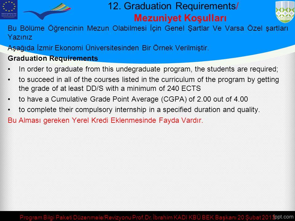 11. Sınavlar, Değerlendirme ve Notlandırma/ Exam Regulations and, Assessment, and Grading Öğrenciler, daha önce aldıkları sınavların ya da yaptıkları